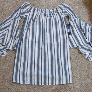 NWT Lulu's off the shoulder stripe dress XS